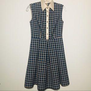 Dresses & Skirts - Vintage Sleeveless Plaid Dress with Satin Collar👗